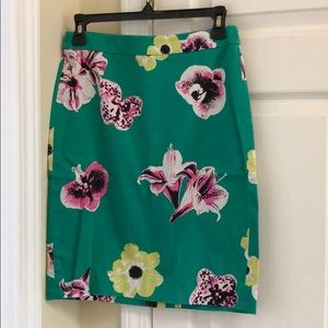 J Crew Floral Pencil Skirt sz 2